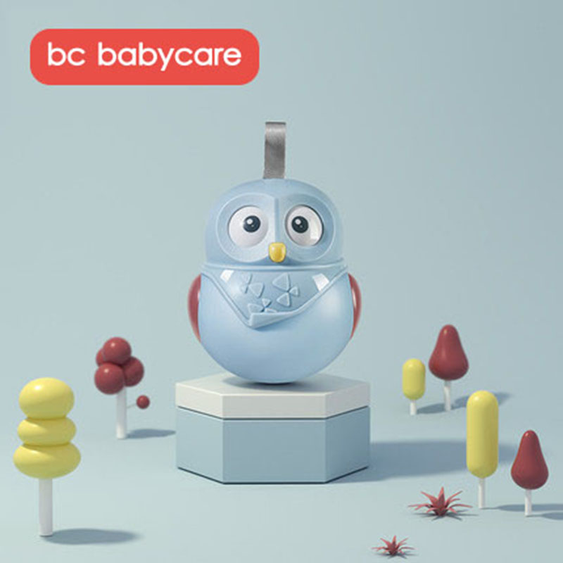 BC Babycare Cute Nodding Moving Eyes Owl Rattle Baby Hang Tumbler Toys Newborn Educational Tumbler With Bell Toys Children Kid