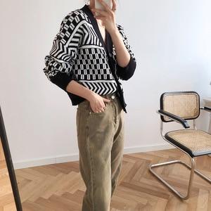 Image 5 - Women V neck Cardigan Sweater Coat 2019 Autumn Winter New Fashion Casual Comfortable Wild Patchwork Knit Cardigan Women Sweater