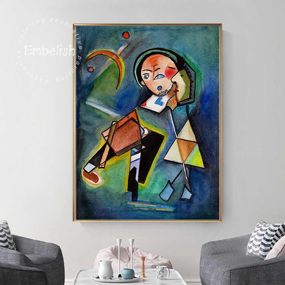 1 adet ünlü soyut sanat eserleri ile Kandinsky duvar resmi oturma odası için öpücük önce ev dekor HD tuval boyama