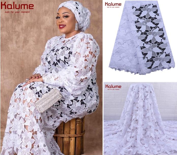 Kalume/высокое качество, Африканский гипюровый шнур, кружевная ткань, ажурный, нигерийский водорастворимый шнур, кружева с камнем, вечерние, пр...