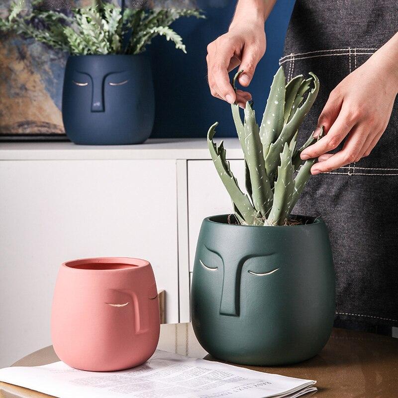 Home Garden Nordic Light Luxury Gold Design Flower Pot Living Room Porch Abstract Human Face Ornaments Green Plant Flower Pot