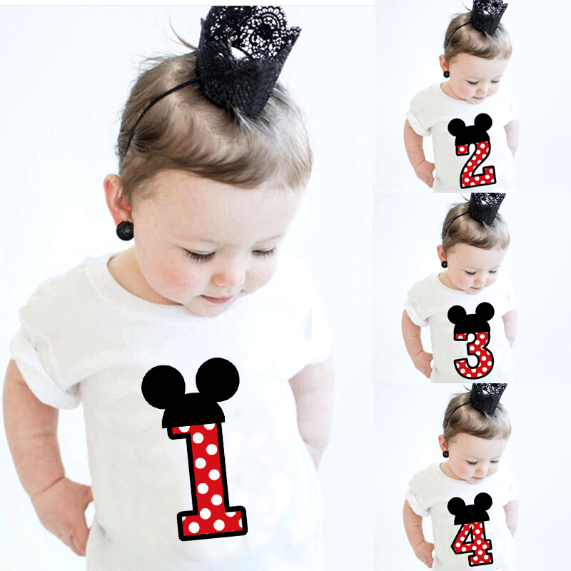 Baby Boys Girls Birthday Party T-shirt 1 2 3 4 Years Cute Toddler Kids Cotton Summer Short Sleeve Cotton Tees Tops