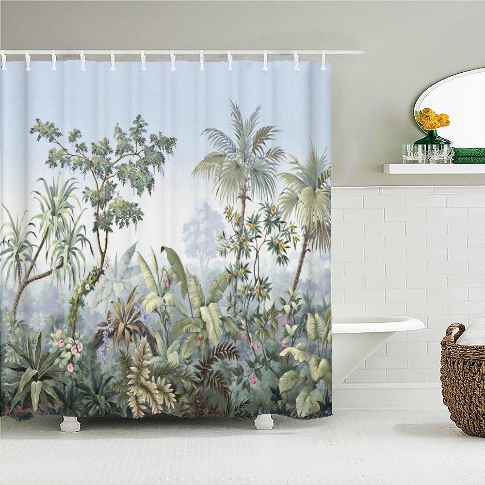 European Flowers, Birds, Plants Bath Curtains Waterproof Shower Curtain 3D Printing Bathroom Decoration With Hook Bath Screen