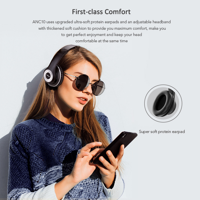 Earphones ANC10 Active Noise Cancelling Bluetooth Wireless Headphones 20H