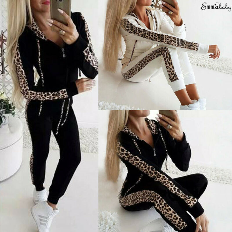Brand New 2pcs Women Tracksuit Zipped Hoodies Sweatshirt Tops Pants Leopard Printed Set Sport Jogging Wear Casual Suit