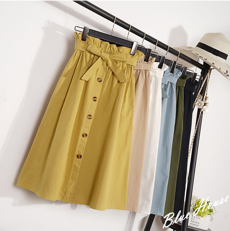 Skirt Female Button Pleated Midi Knee-Length Elegant High-Waist Korean Womens Summer