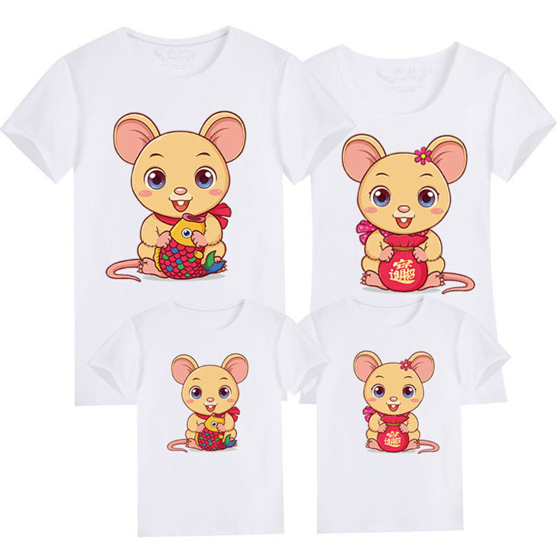 Family Matching Clothes Mouse New Year Summer Print T-Shirt Mommy And Daughter Father And Son Clothes Family Look
