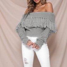 Womens sweater Winter Women Sexy Solid Off Shoulder Tassel Long Sleeve Loose Sweaters Blouse Tops 8.15