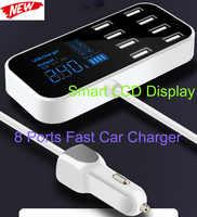 Carregador de carro rápido 8 portas multi usb display lcd carregador carro carga rápida para o iphone 6 7 8 x xr xs 11 por max samsung mate30 por