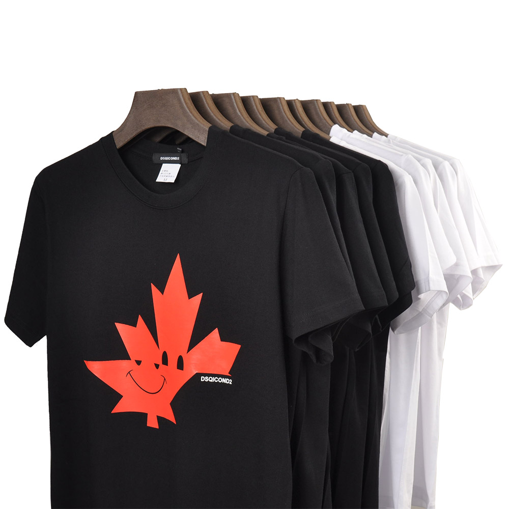DSQ2 Casual Tees Short Sleeves T-Shirts Maple Leaf Print ICON T Shirt Women Casual Cool Summer T-shirt Women Short Sleeve Tshirt