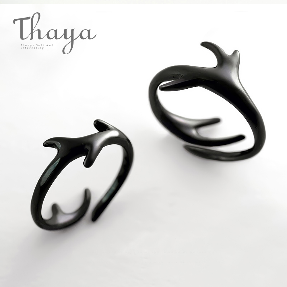 Thaya Deer Totem Black Ring S925 Sterling Silver Vintage Finger Open Ring Anniversary Party Jewelry For Women Lover Gifts