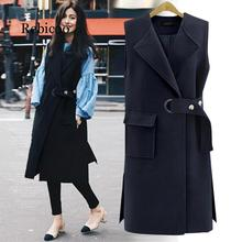 Europe and the United States 2019 autumn large size jacket wool long vest jacket solid color lapel pocket black women's jacket 2017 europe and the united states fashion color hooded long section of the windbreaker spring new cotton jacket girl red jacket