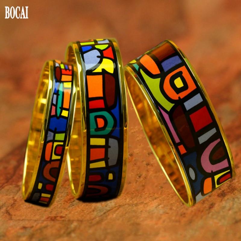 Nouveau émail couleur incurvée 1.5MM 2MM 3MM bracelet pour femme cloisonné bijoux haute qualité cadeau femme bracelet Village série