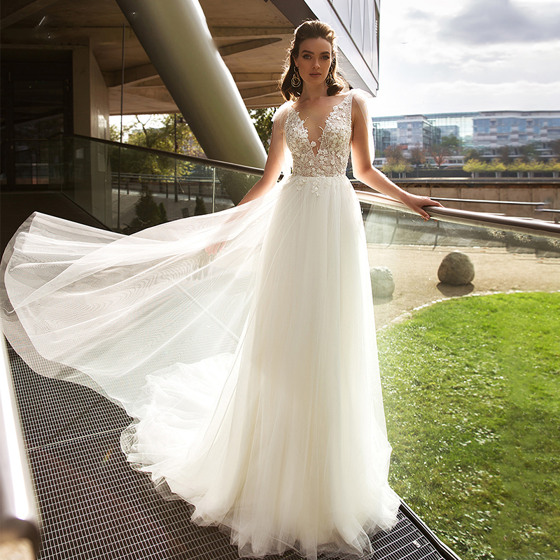 OLLYMURS 2020 Luxury Wedding Dress Silky Organza Applique V-neck Backless Sleeveless Lace Wedding Dress Support Tailor-made