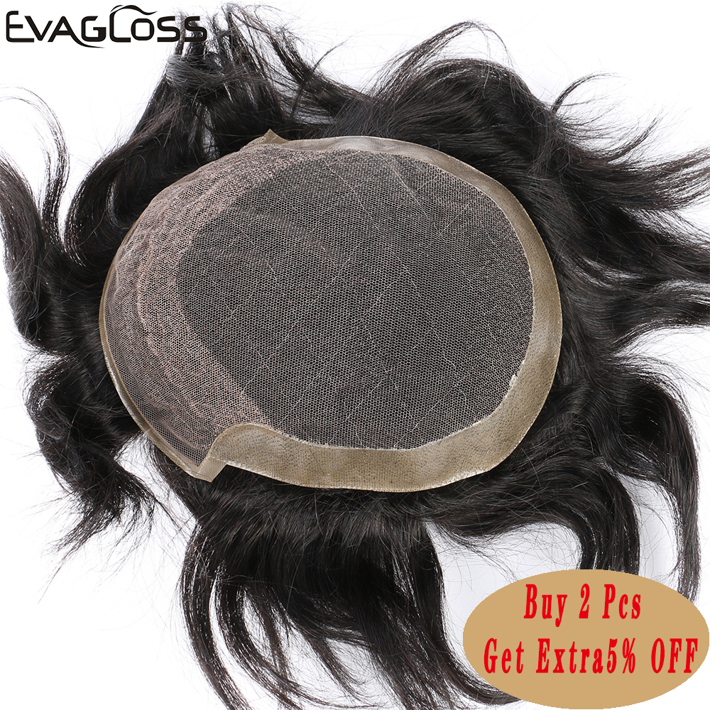 EVAGLOSS Men's Wig French Lace With Poly Coating Indian Human Hair System Mens Toupee Free Shipping