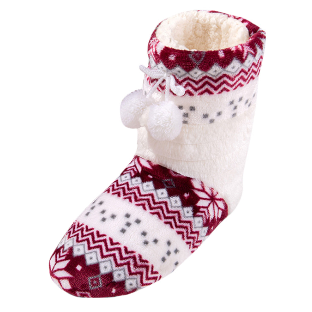 Winter Fur Slippers Boots Women Warm House Slippers Soft Plush Shoes Christmas Cotton Indoor Home Shoes Floor Shoes