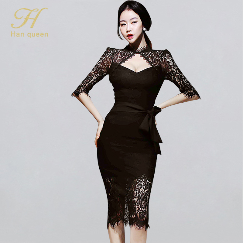 H Han Queen <font><b>Sexy</b></font> <font><b>Lace</b></font> <font><b>Hollow</b></font> Out Bodycon <font><b>Dress</b></font> Women Winter <font><b>Backless</b></font> Evening Party <font><b>Dresses</b></font> OL See Through Sheath Pencil Vestidos image