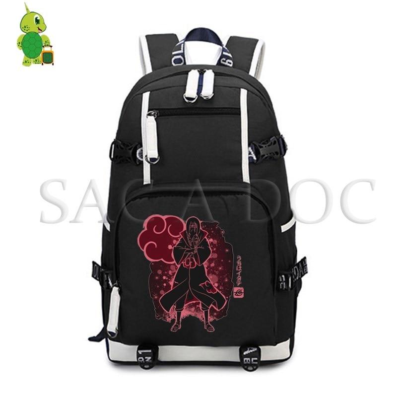 Anime Naruto Akatsuki Itachi/Kakashi/Naruto Fluorescence Backpack Women Men Laptop Backpack School Bags for Teenagers Travel Bag