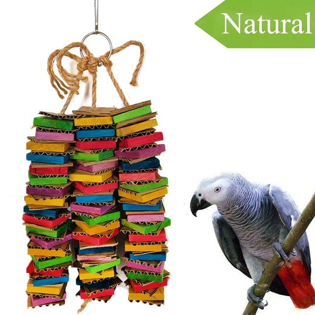 Parrot Toys for Large Birds Cardboard Big Bird Toys African Grey Parrot Toys Natural Wooden Bird Cage Chewing Toy with Clip