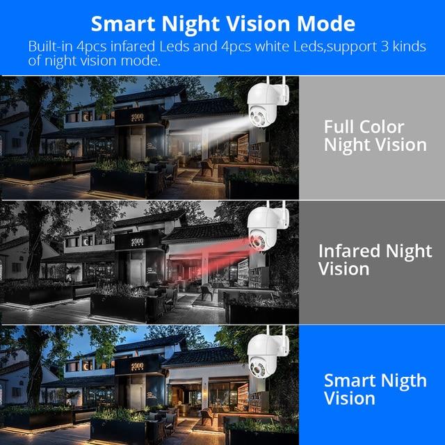 Hiseeu 3MP WIFI IP Camera Outdoor HD Full Color Night Vision PTZ Waterproof Security Speed Camera AI Human Detection ICSee 6