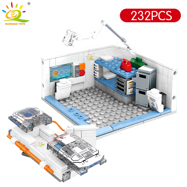 HUIQIBAO 1006pcs Wandering Earth Space Station Building Blocks City creator astronaut Scientific Bricks set Toy For Children