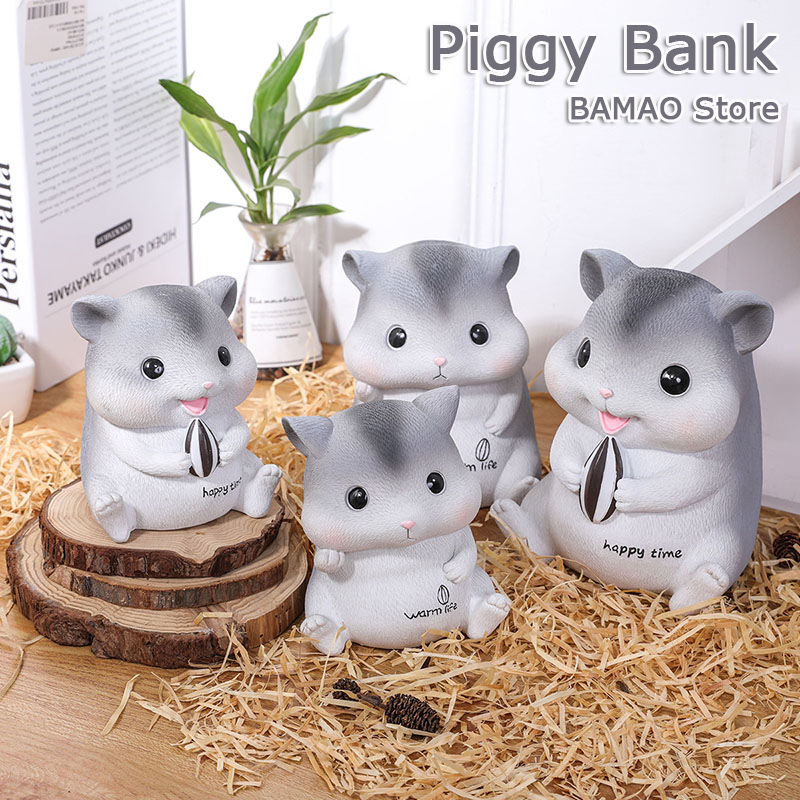 Resin Hamster Piggy Bank Home Decorations Accessories Bedroom Cartoon Coin Money Box Crafts Children Christmas Bithday Gift