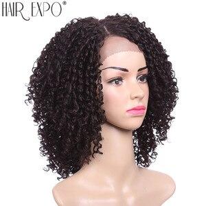 Image 2 - 14 אינץ קינקי סינטטי קצר שחור שיער לנשים שחורות תחרה פאות חום Resiatant צד חלק שיער אקספו עיר