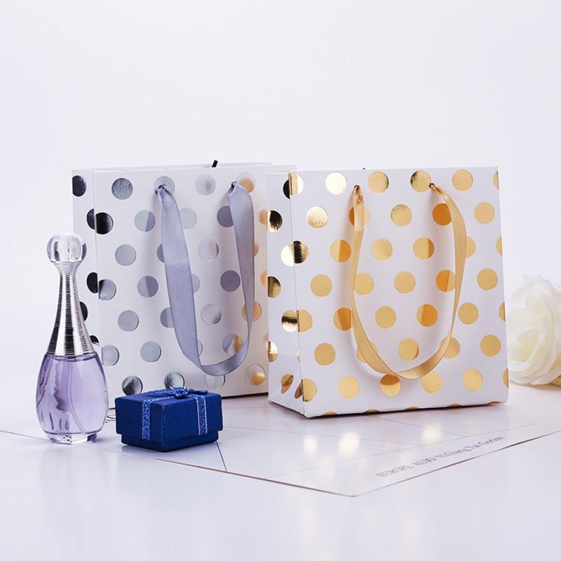 En gros 20 pcs/lot or/argent points sacs cadeaux avec poignées sac en papier Kraft Mini présent sac pour bijoux/parfums paquet cadeau