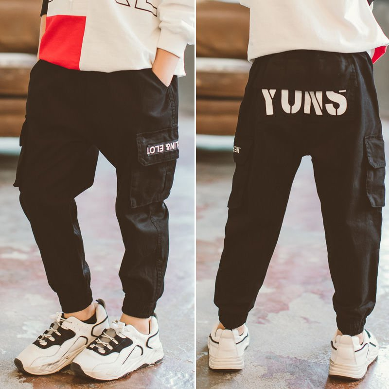 Kid Pants For Boys cargo Pant Letters clothes Kids Pants Casual Kids Clothes Winter Teenage Boys Clothing For 4 6 8 12 14 Years 4