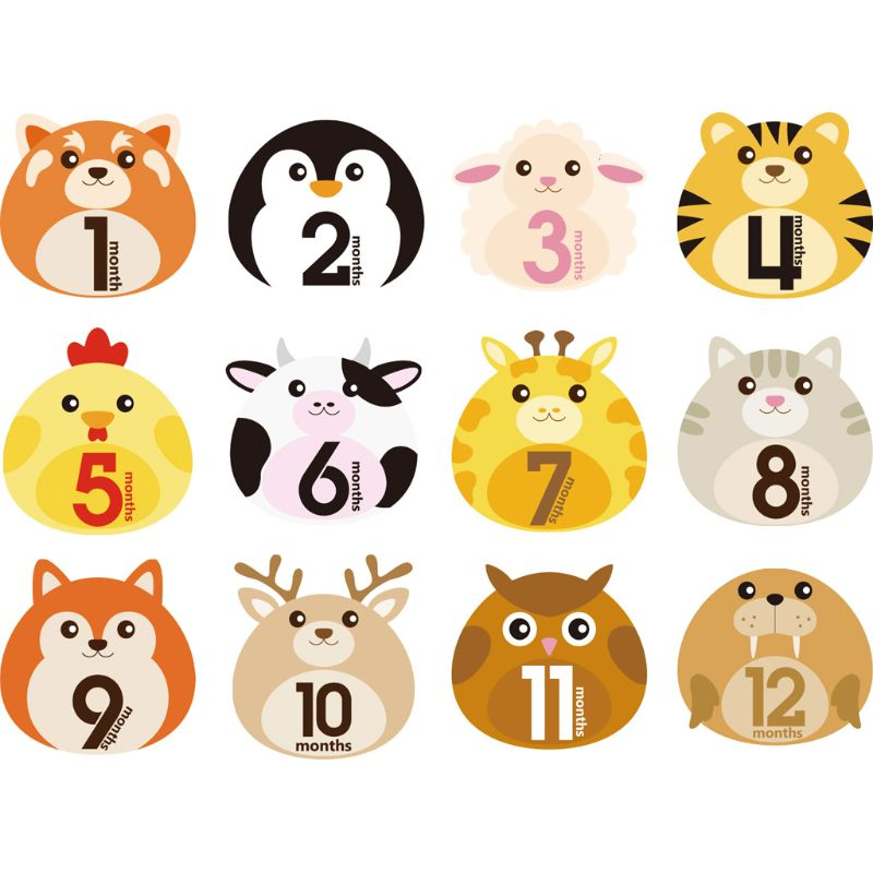 12-pcs-animal-first-year-monthly-milestone-photo-sharing-baby-belly-stickers-1-12-months-baby-growth-album