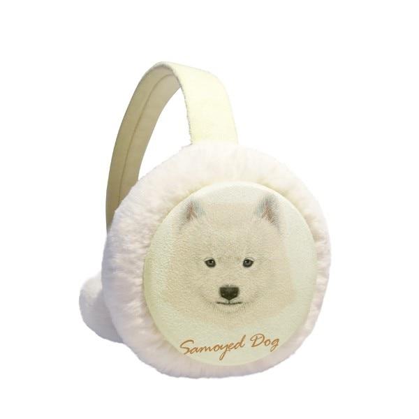 White Samoyed Dog Pet Animal Winter Earmuffs Ear Warmers Faux Fur Foldable Plush Outdoor Gift