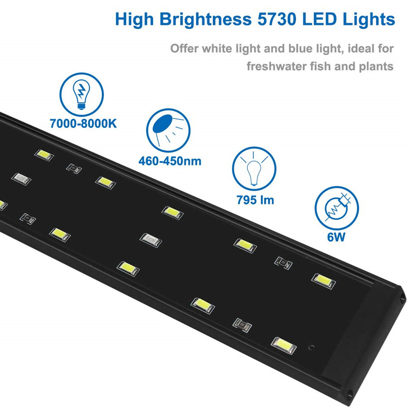 22W 85CM Ultra thin Aluminium Alloy 5730 SMD LED Beads Clip Light Aquarium Fish Tank Lamp With Bracket in Lightings from Home Garden