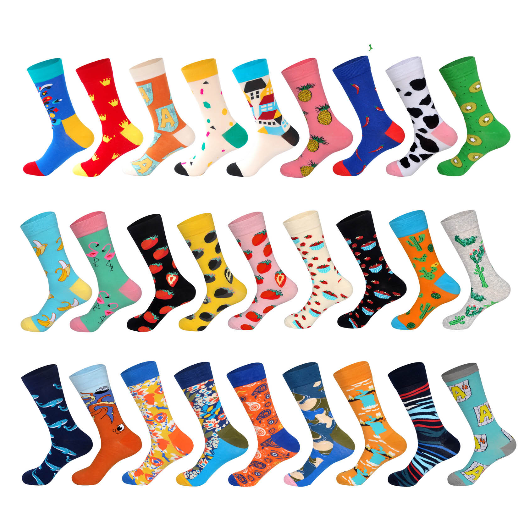 LIONZONE  Men Cotton Colorful Pepper Banana Strawberry Kiwi Fruit Pineapple Letter Cactus Whale Octopus Male Socks Men Gift