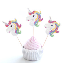 24pcs/Set Unicorn Party Cupcake Topper for Happy Birthday Party Baby Shower Children Party Decor Kids Cake Decoration Supplies happy birthday banner baby shower balloons cake topper for wedding decor unicorn birthday party supplies