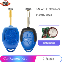 KEYECU (2 Models for Optional ) 433MHz 4D63 Replacement Remote Key 3 Button for Ford Transit WM VM 2006 2014 6C1T15K601AG
