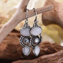 Imitação do vintage moonstone brincos balançar brincos de prata cor para mulheres jóias de casamento boho brinco