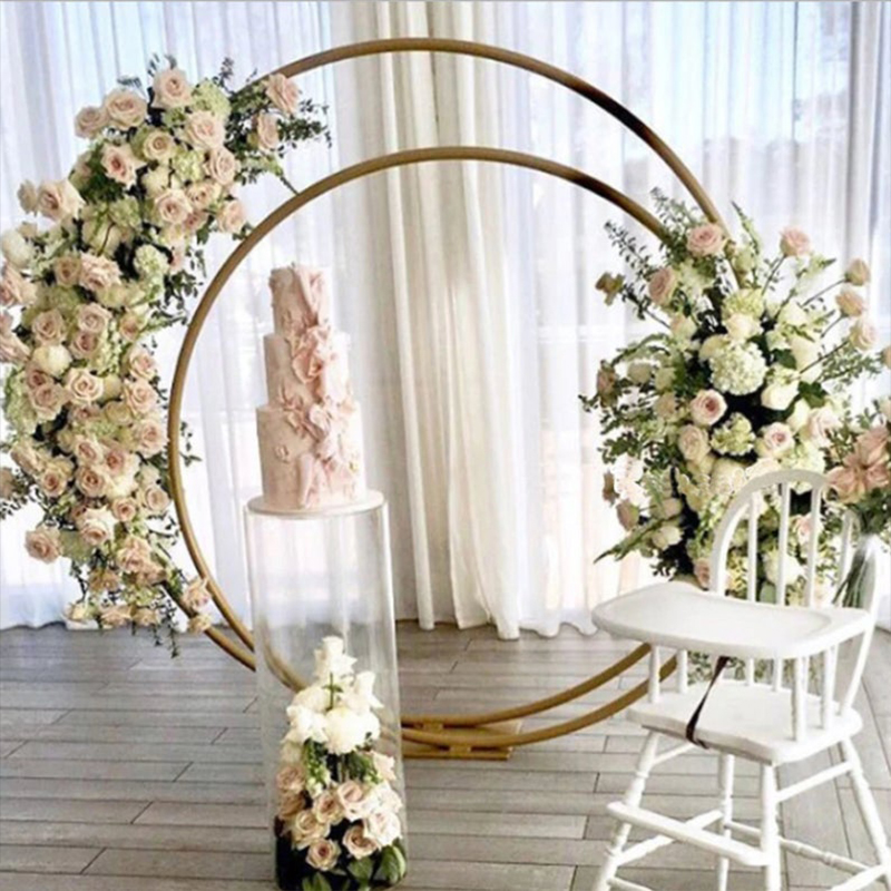 Double circle wedding arch metal round Outdoor wedding backdrop arch stand double ring Christmas decorations for home