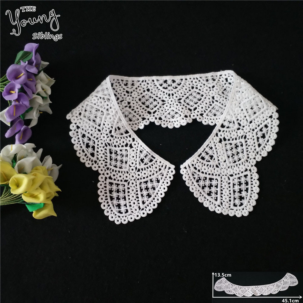 Hot sell Fashion style White Hollow out Lace Neckline Fabric Embroidery Applique Venise Lace Collar Sewing DIY Dress Accessories image