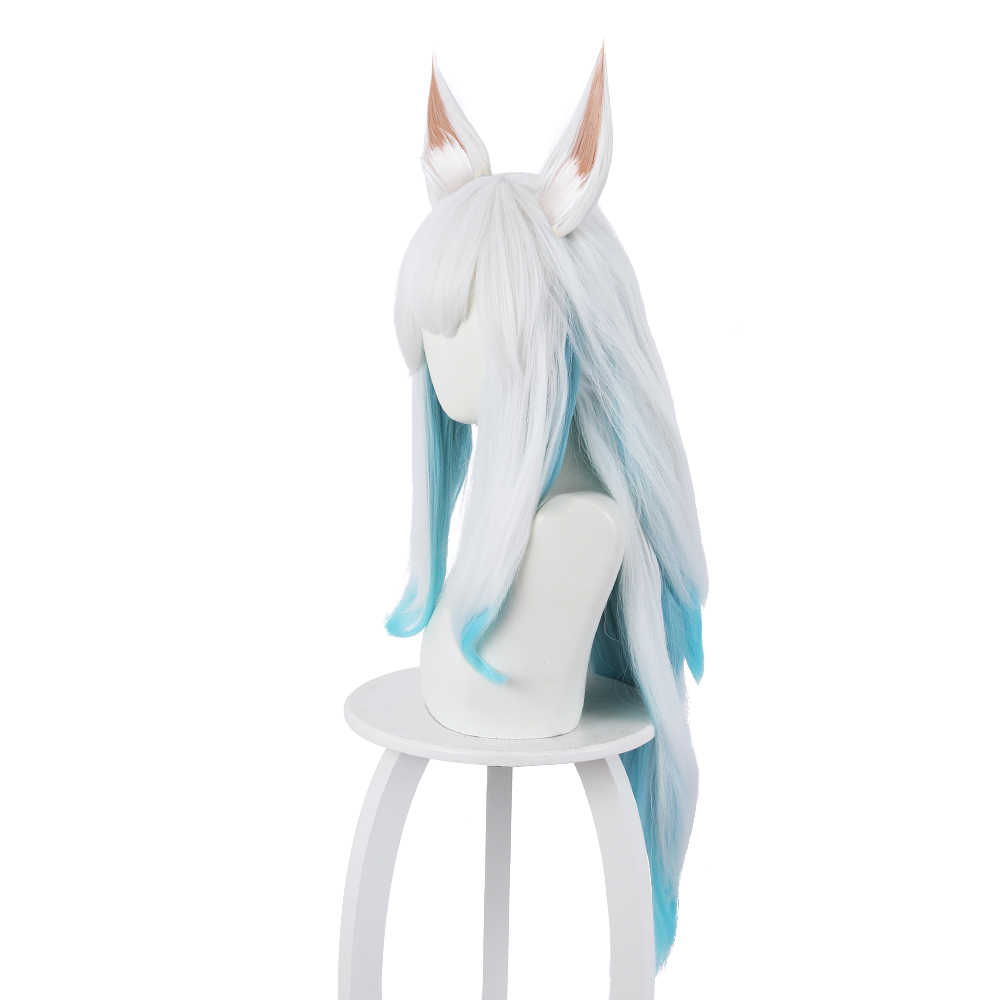 League of Legends LOL Ahri Cosplay Wig 75cm Blue Mixed White Long Straight Wigs