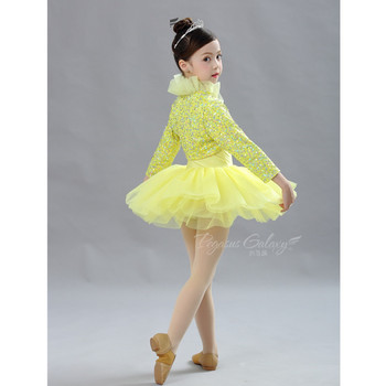 H2694 Girls Children Ballet Dancing Dress Top Two-Piece Set Yellow Tutu Dresses Long Sleeve Stage Performance Dancewear Costumes