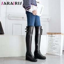 SARAIRIS Big Size 34-43 Elegant Height Increasing Over The Knee Boots Lady Platform Thigh High Boots Women 2019 High Shoes Woman