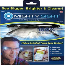 Mighty sight led óculos de luz presbiopia leitura vidro 160% lupa óculos de leitura led óculos de visão noturna luminosa