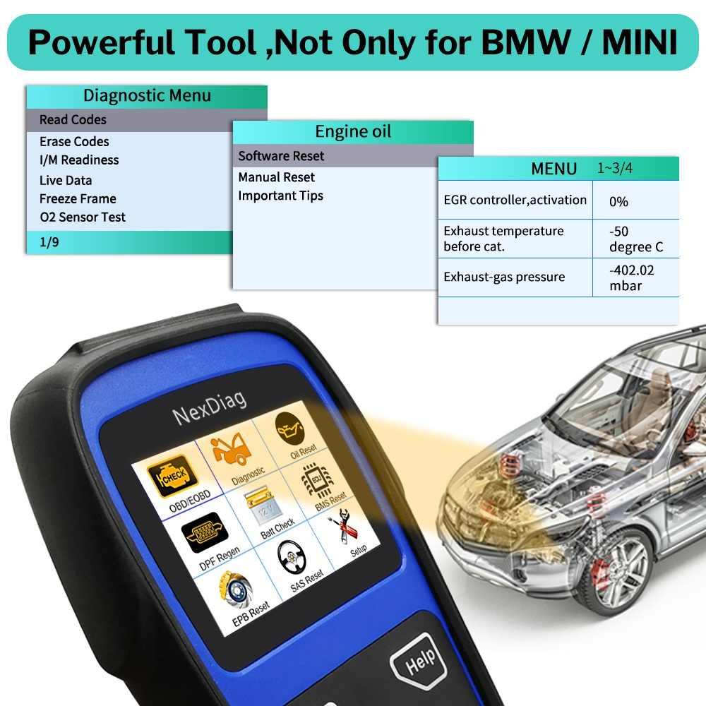 Deelife OBD2 сканер средство диагностики двигателя подушка безопасности; ABS SRS масляный аккумулятор тормоз сброс услуги OBD 2 код ридер (для MINI/BMW)