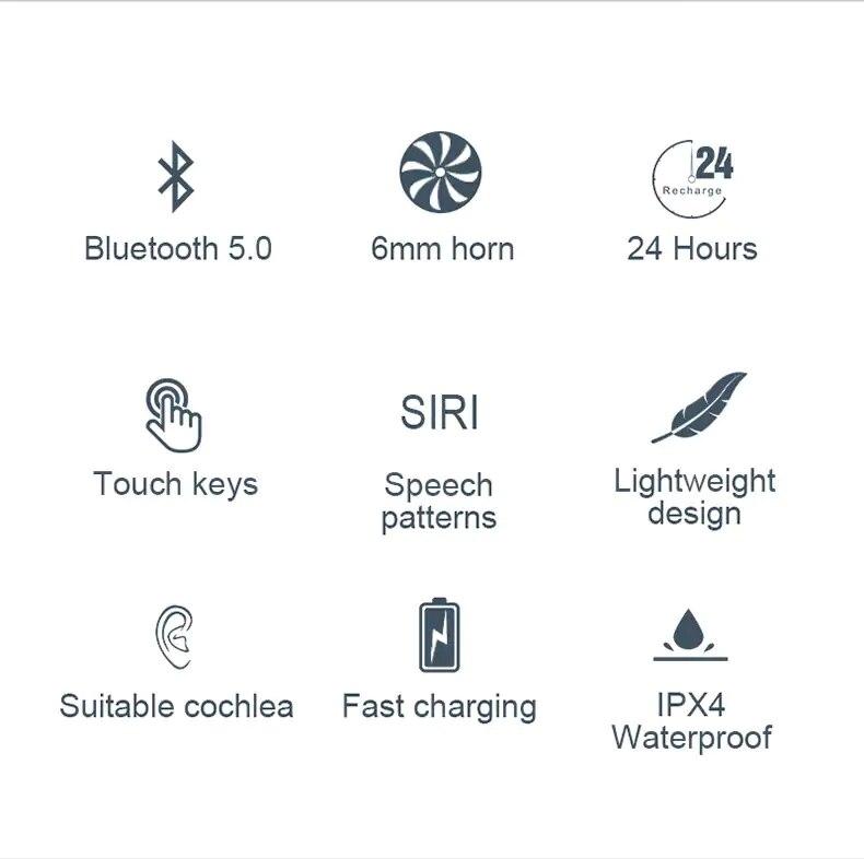 Lenovo X18 TWS Earphone Wireless Bluetooth 5.0 Super Light Earplug Long battery Touch Keys Headset Sweatproof Sports Earbuds (2)