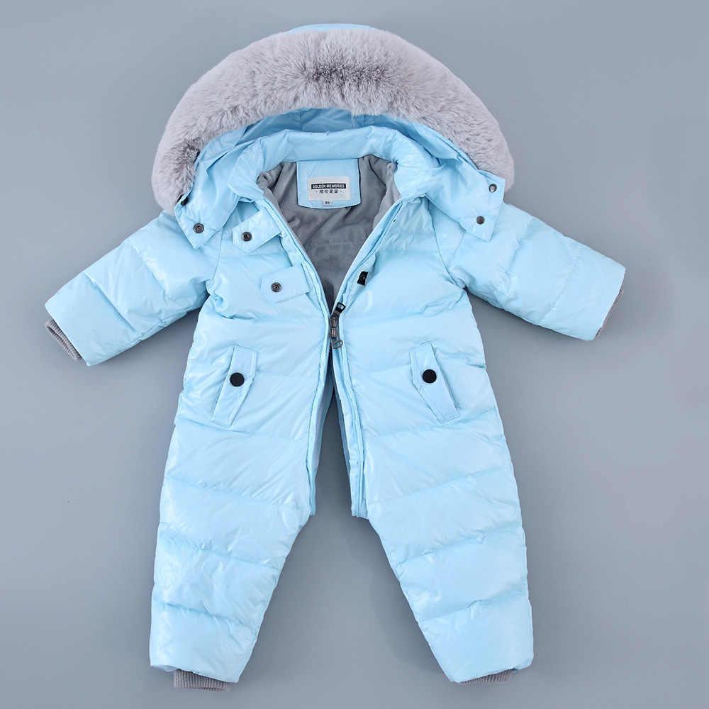Romper do bebê Menina Menino Snowsuit Pato Térmica Para Baixo Com Capuz De Pele do Inverno Macacão Recém-nascidos Filhos de Inverno Subir Roupas Macacão Terno de Esqui