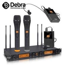 Debra Audio D-240 4 Channel  UHF Wireless Microphone System with handheld headset lavalier mic For speech Karaoke party boya by whm8 professional 48 uhf microphone dual channels wireless handheld mic system lcd display for karaoke party liveshow
