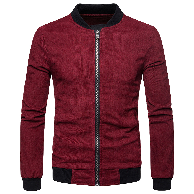 FIRERO Mens Autumn Corduroy Jacket Solid Color Button Casual Long Sleeve Coat