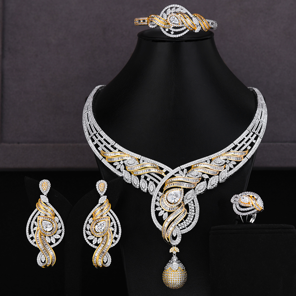 GODKI Trendy Luxury 4PCS Bowknot Nigeria Statement <font><b>Jewelry</b></font> <font><b>Set</b></font> <font><b>For</b></font> Women Wedding Full Cubic Zircon Dubai Bridal <font><b>jewelry</b></font> <font><b>Set</b></font> <font><b>2019</b></font> image