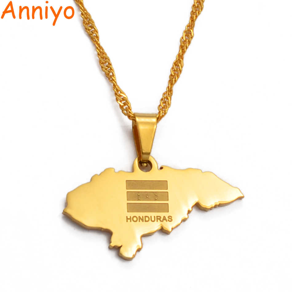 Anniyoc Small Size Honduras Map Pendant Necklaces for Women Gold Color Charm Maps Jewelry Patriotic Best Gifts #017421