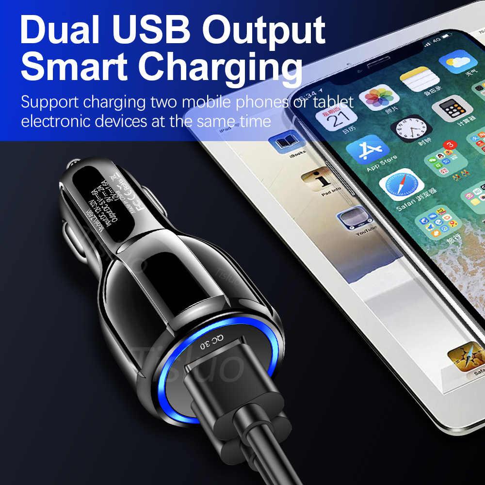 Mobil Charger Cepat Biaya 3.0 Ganda Usb Cepat Pengisian untuk iPhone 8 X XR Samsung Xiaomi Tablet QC 3.0 First telepon Usb Mobil Charger